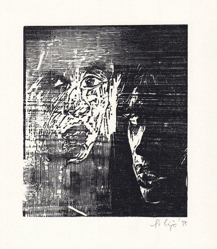 1999 Wija Solomon Original-Holzschnitt aus dem Buch