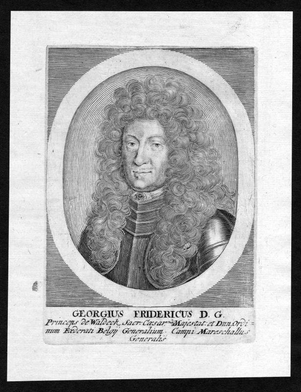 17. Jh. Georg Friedrich Waldeck Feldmarschall Portrait Kupferstich antique print