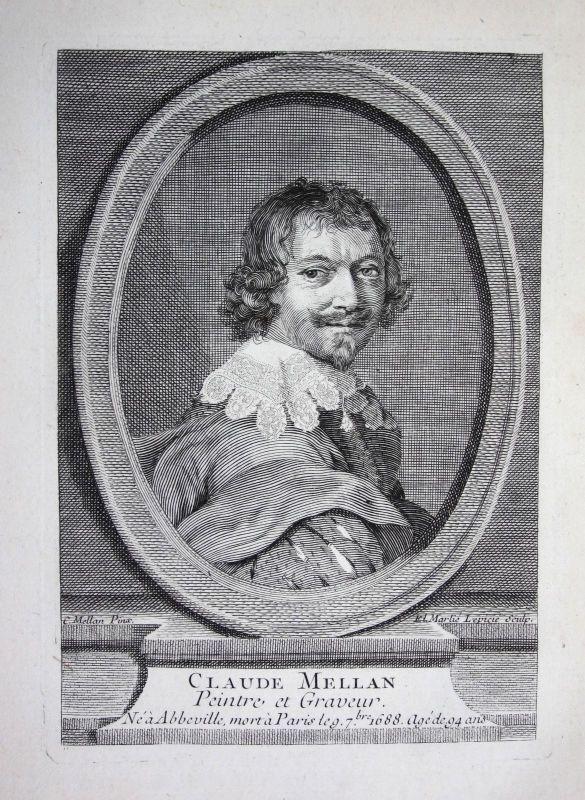 18. Jh. Claude Mellan engraver painter Kupferstich Portrait engraving gravure