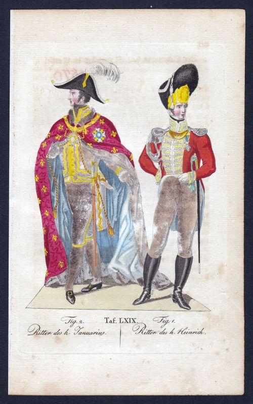 Januariusorden Order of Saint Januarius Ritterorden Orden Kupferstich antique