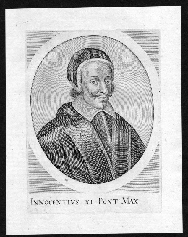17. Jh. Innocenzo XI Papa Papst Innozenz Portrait Kupferstich antique print