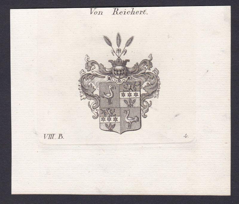 1820 Reichert Wappen Adel coat of arms Heraldik Kupferstich antique print