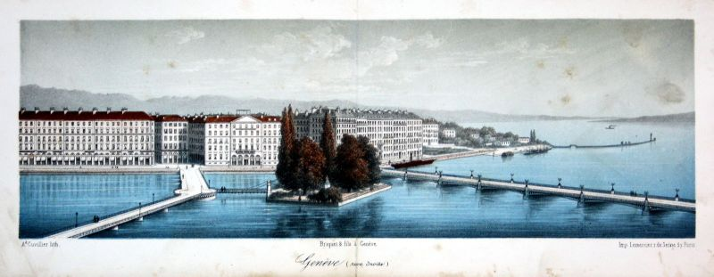 1840 Genf Geneve Panorama Ansicht vue Farblithographie Litho Schweiz Cuvillier