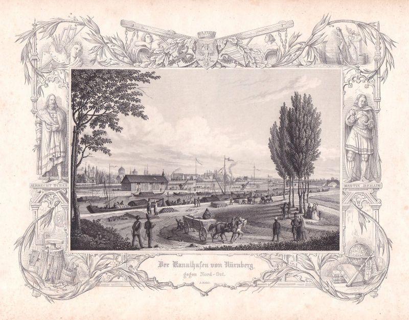 1847 Kanal Hafen Nürnberg Nord-Ost Marx Stahlstich antique print