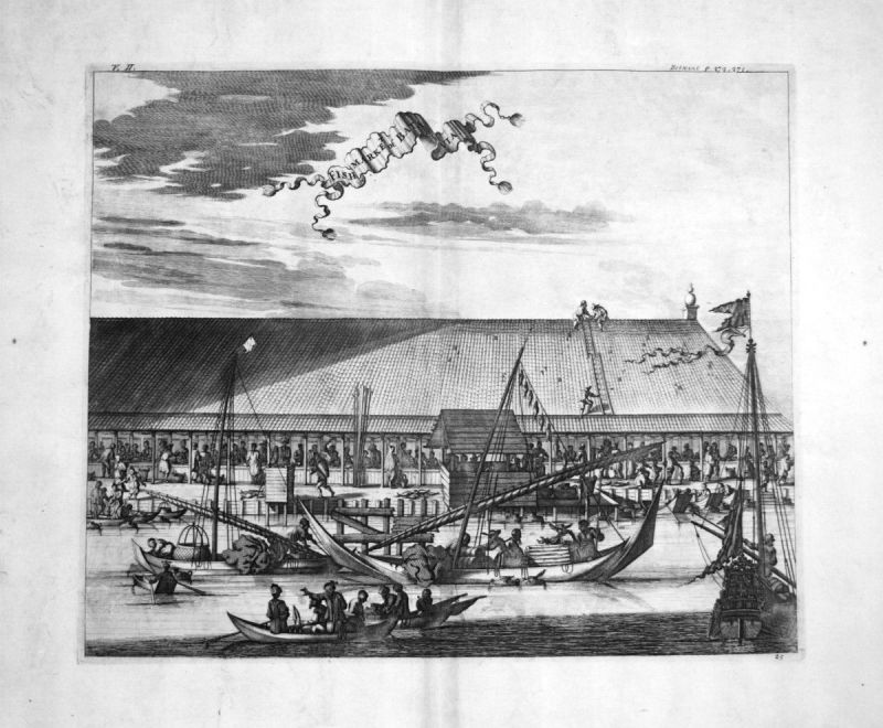 1730 Batavia Jakarta fish market Java Indonesia Kupferstich engraving Churchill