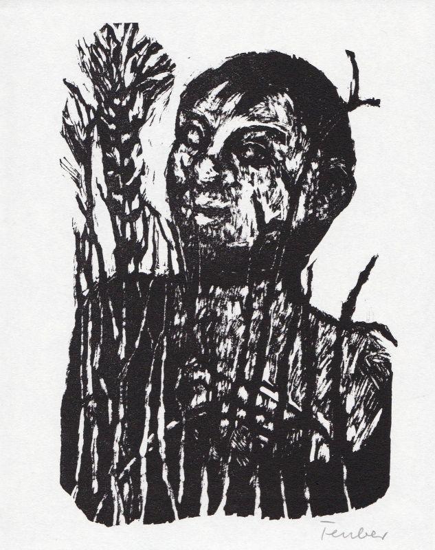 1990 Gottfried Teuber Horaz Linolschnitt zu Frühlingslied signiert