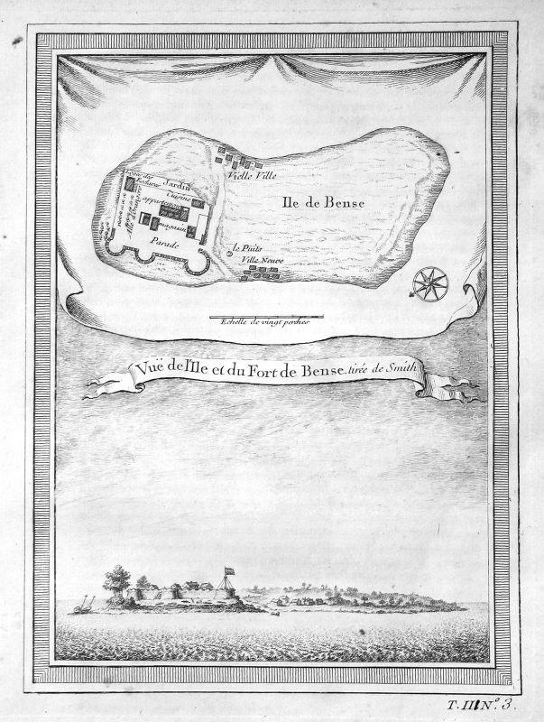 1750 Bunce Island Sierra Leone map Karte Ansicht view Kupferstich antique print