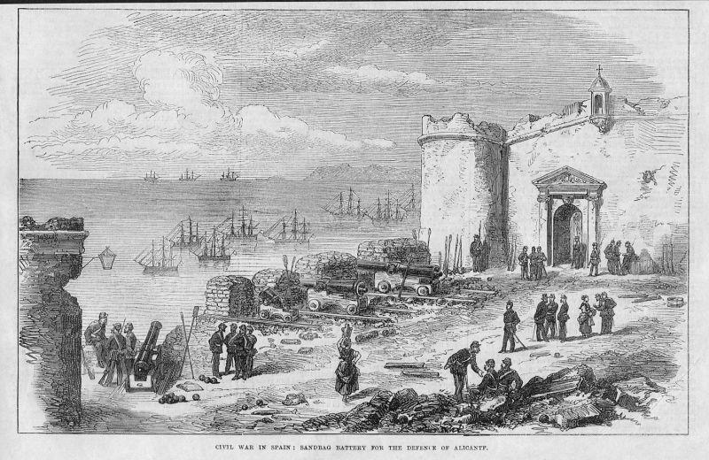 1873 Civil war Spain sandbag battery defence Alicante Spanien Espana woodcut