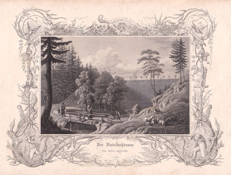Ludwig-Donau-Main-Kanal Kanal Distellochdamm Marx Stahlstich antique print