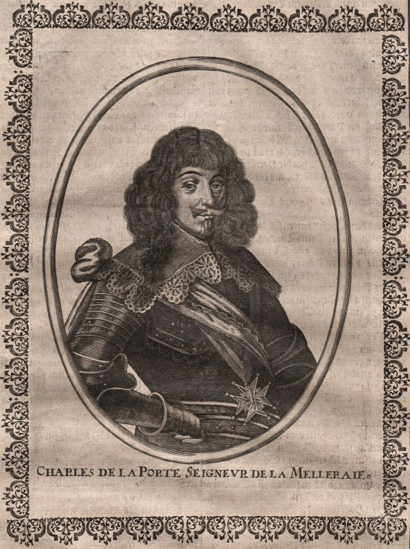 Armand Charles de La Porte Portrait Kupferstich gravure Merian ca. 1650