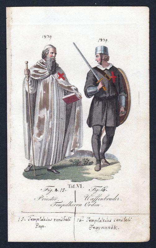 Tempelorden Knights Templar Priester Ritterorden Orden Kupferstich antique print