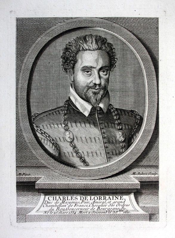 18. Jh Charles de Mayenne II de Lorraine duc duke Kupferstich Portrait engraving