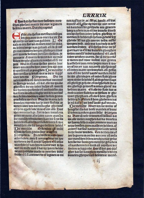 1499 Blatt LXXXIX Inkunabel Vita Christi Zwolle incunable Dutch Holland
