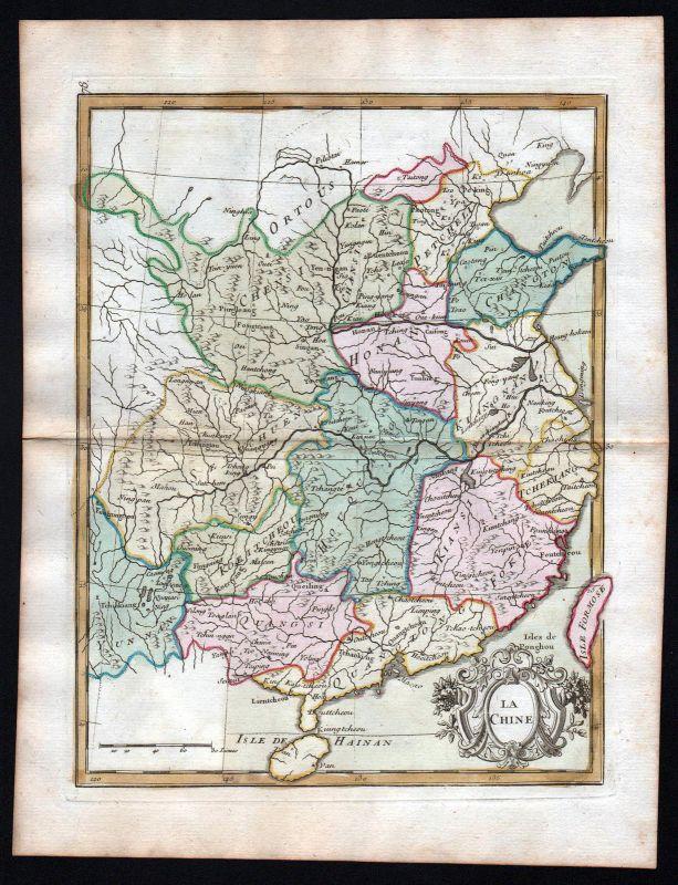 1767 China Taiwan Hainan Asia Asien Karte map Kupferstich antique print Le Rouge