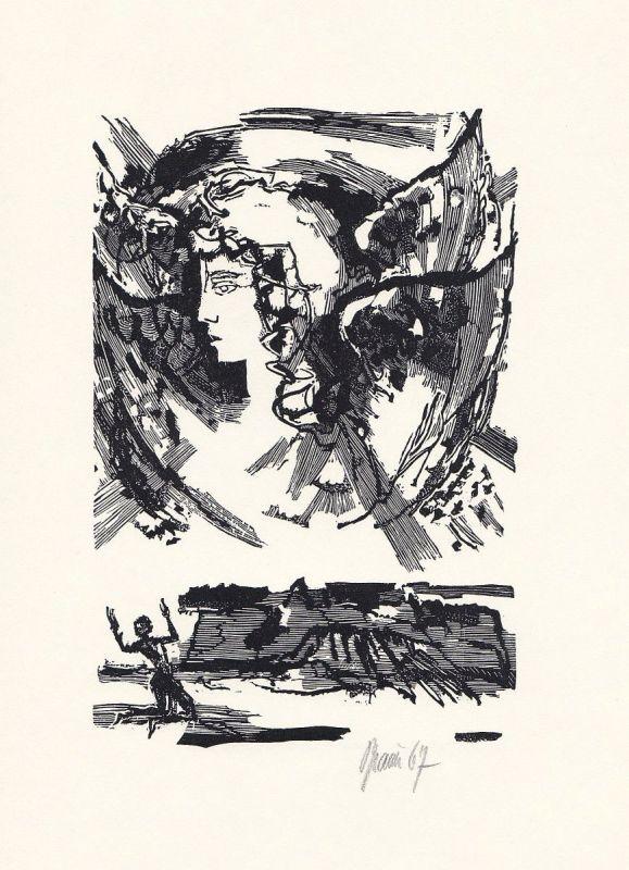 1970 Werner Brauer Holzstich zu Voltaire