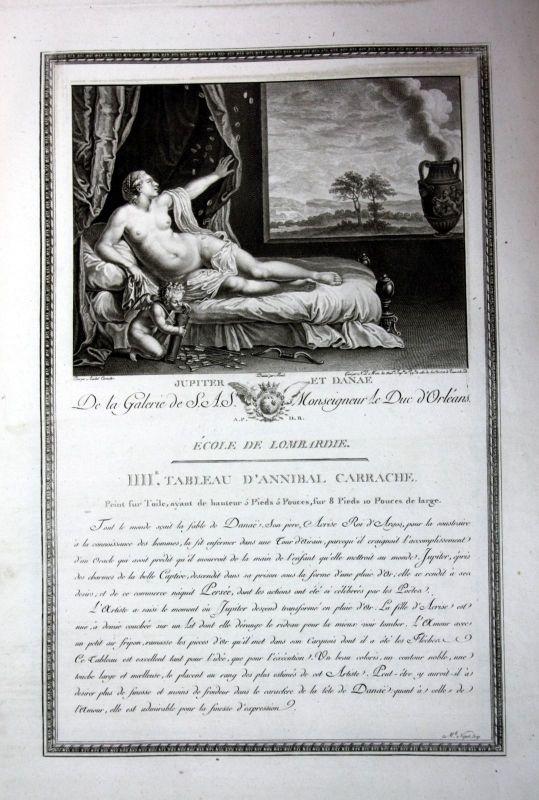 Annibale Carracci Jupiter Danae Akt nude Kupferstich antique print Le Mire