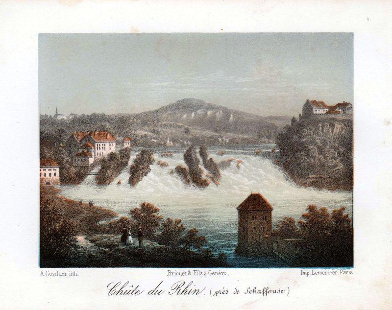 1840 Rheinfall Schaffhausen Ansicht vue Farblithographie Litho Schweiz Cuvillier