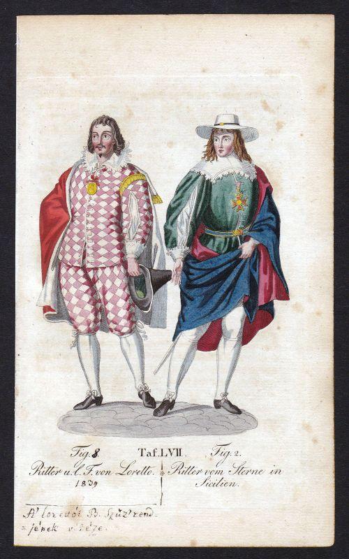 1820 Loretto Orden beider Sizilien Ritterorden Sicilia Kupferstich antique print