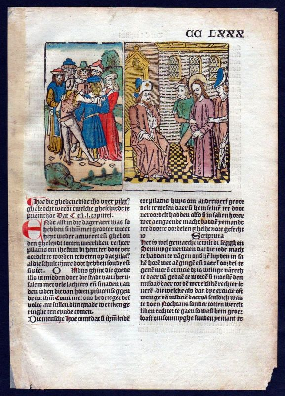 1499 Blatt CCLXXX Inkunabel Vita Christi Zwolle Holzschnitt woodcut incunable