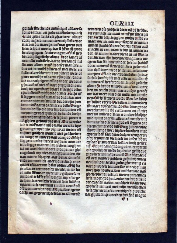 1499 Blatt CLXIII Inkunabel Vita Christi Zwolle incunable Dutch Holland