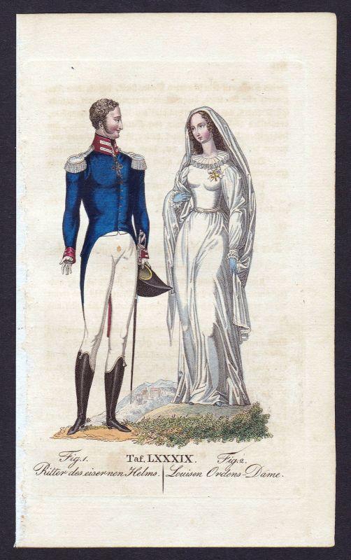 1820 Louisenorden Ritterorden Orden vom Eisernen Helm Kupferstich antique print
