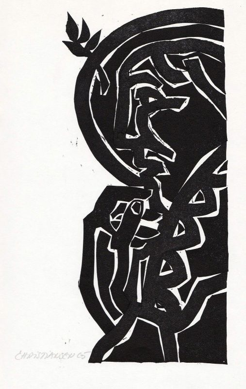 1990 Manfred Christiansen Hugo von Hofmannsthal Linolschnitt Marschall signiert