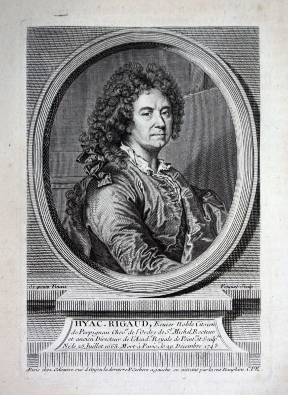 18. Jh. Hyacinthe Rigaud painter peintre Maler Kupferstich Portrait gravure