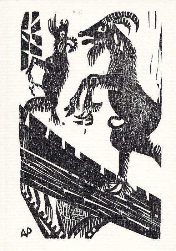 1974 Alfred Pohl Tomas de Iriarte Holzschnitt Fabel Fabulas literarias signiert