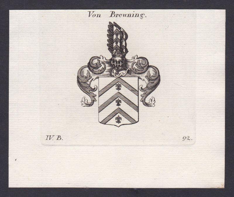 1820 Breuning Wappen Adel coat of arms Heraldik Kupferstich antique print