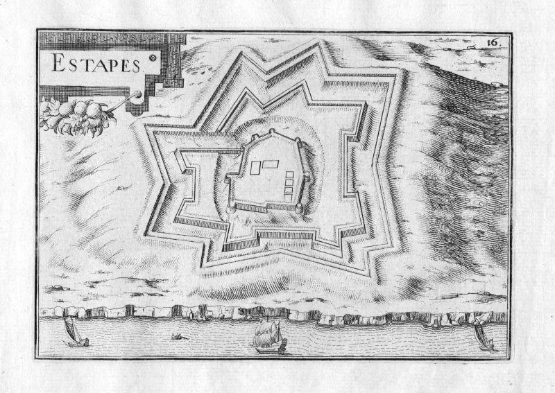 1630 Estapes Nord-Pas-de-Calais France Kupferstich Karte map gravure plan Tassin