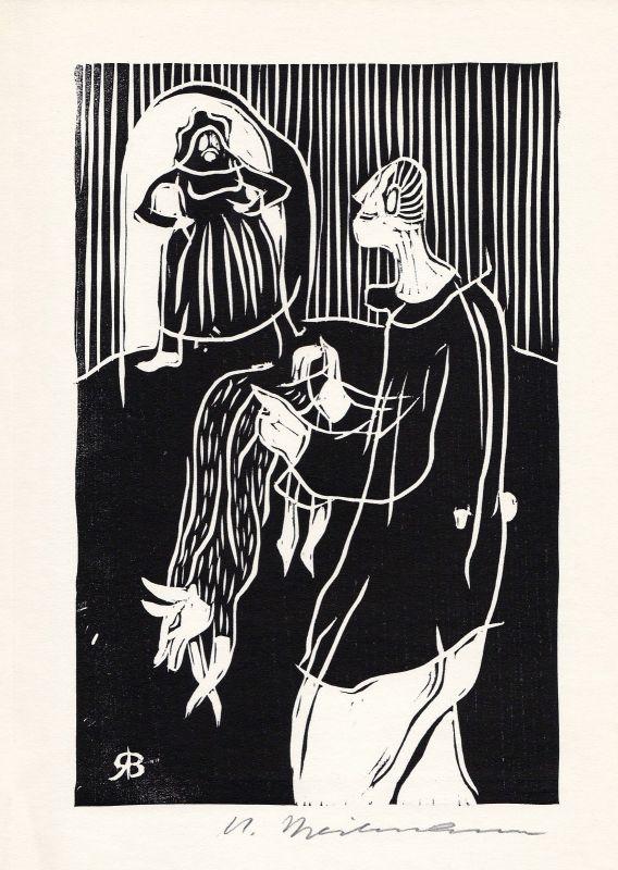 1970 Rudolf Breilmann Holzschnitt zu einer der Geschichten Ulenspiegel signiert