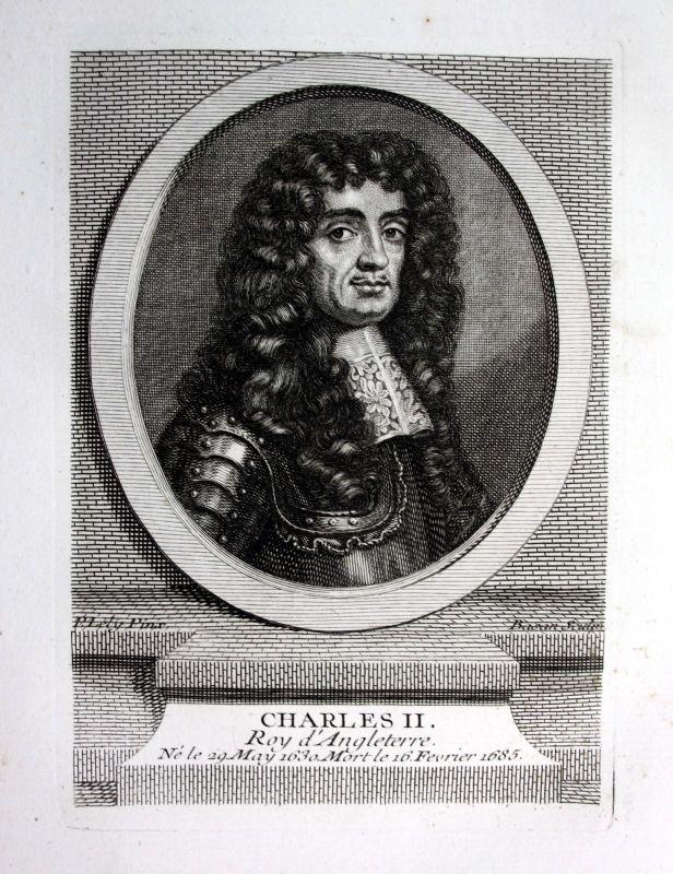 18.Jh. Charles II Karl II König England Roy Angleterre Kupferstich Portrait