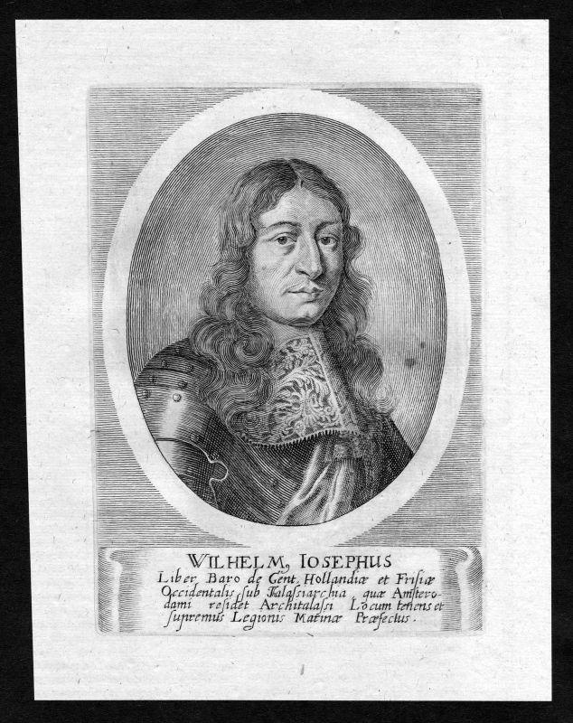 17. Jh. Willem Joseph van Ghent Portrait Kupferstich antique print Nederland