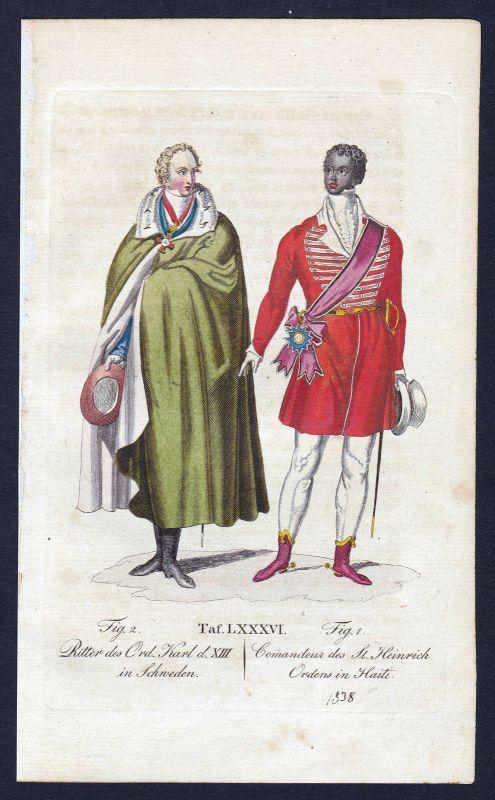 1820 Carl XIII:s orden Ritterorden Orden Karls XIII. Kupferstich antique print