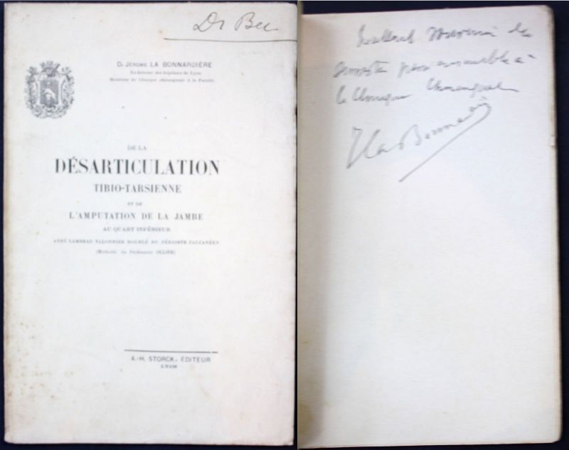 J.La Bonnardiere Desarticulation tibio-tarsienne Medicine signed dedication copy