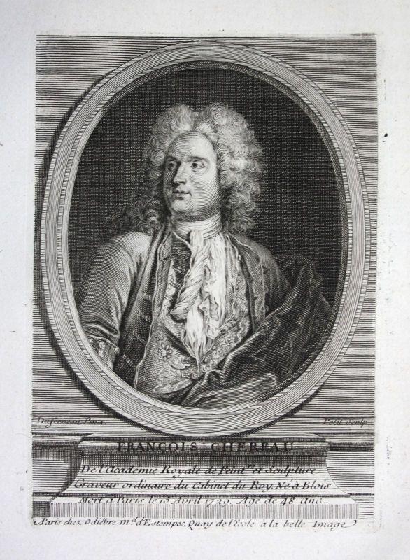18. Jh. Francois Chereau graveur engraver Kupferstich Portrait gravure engraving