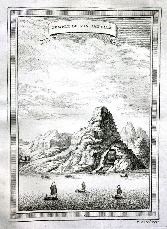 1750 Tempel temple Konjansiam Asia China Ansicht view Kupferstich antique print