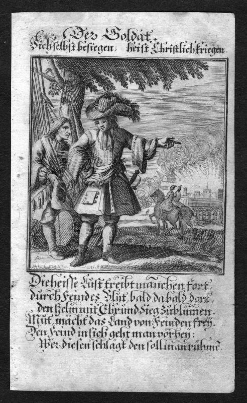 1700 Soldat soldier Beruf profession Weigel Kupferstich antique print Militaria