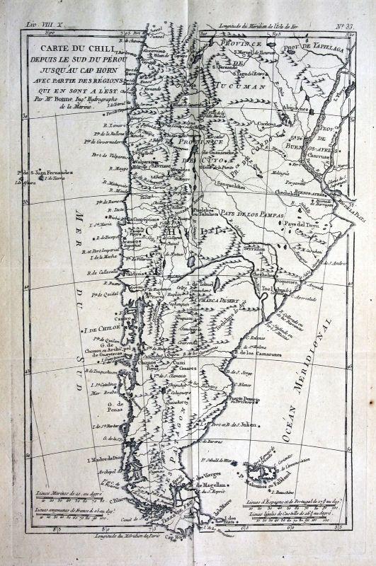 1780 Chile Tierradel Fuego South America Kupferstich Karte map engraving Bonne