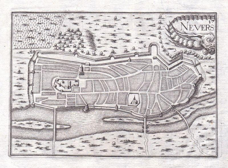 1630 Nevers Nievre Burgund Bourgogne France gravure estampe Kupferstich Tassin