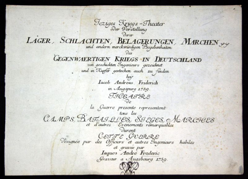 1760 Titelblatt Titel title J. A. Friedrich Kupferstich antique print Atlas 0