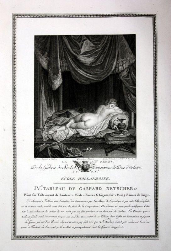 Caspar Netscher Erholung relaxing Akt nude repos Kupferstich antique print 0