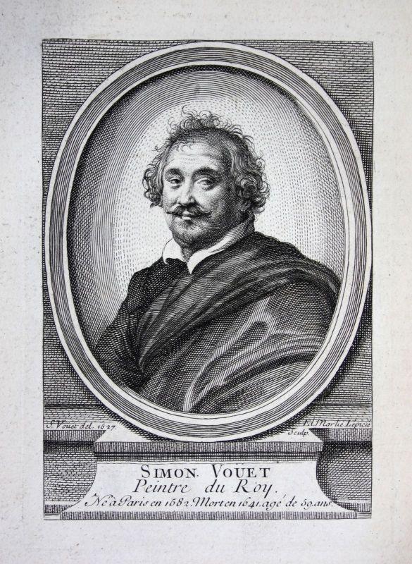 18. Jh. Simon Vouet Maler painter peintre Kupferstich Portrait gravure engraving 0