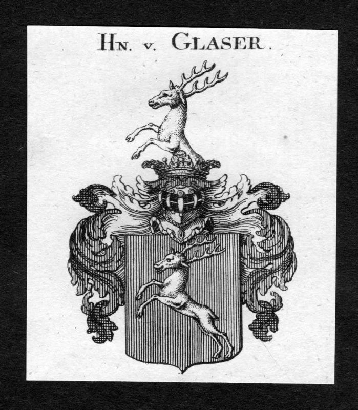 1820 - Glaser Wappen Adel coat of arms heraldry Heraldik Kupferstich 0