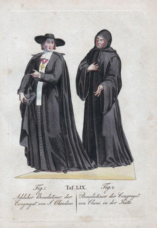 1820 Benediktiner Cluny Orden Cluniazensische Reform Burgund Kupferstich order 0