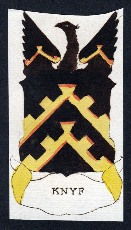 1800 Knyf Wappen Adel coat of arms heraldry Heraldik Kupferstich engraving 0