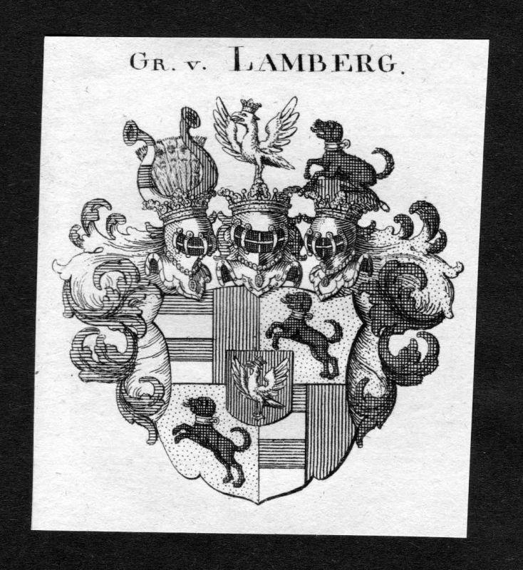 1820 - Lamberg Wappen Adel coat of arms heraldry Heraldik Kupferstich 125053 0