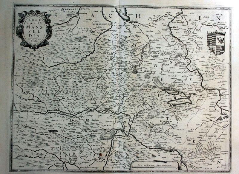1630 Mansfeld Aschersleben Walkenried Karte Kupferstich antique print Hondius 0