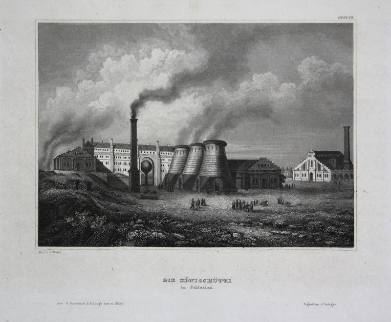 Königshütte Chorzow Schlesien Polen Poland Ansicht view Stahlstich 1850
