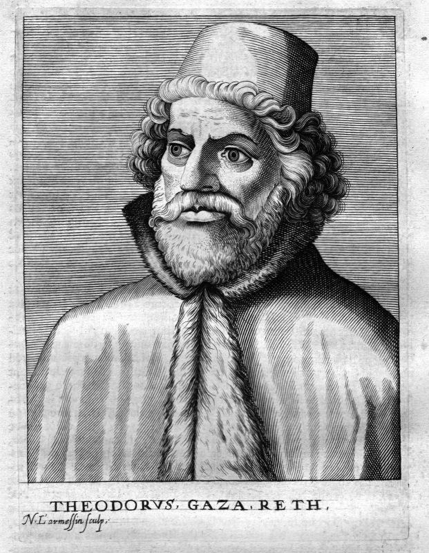 Ca. 1680 Theodorus Gaza Greece Humanist Kupferstich Portrait engraving